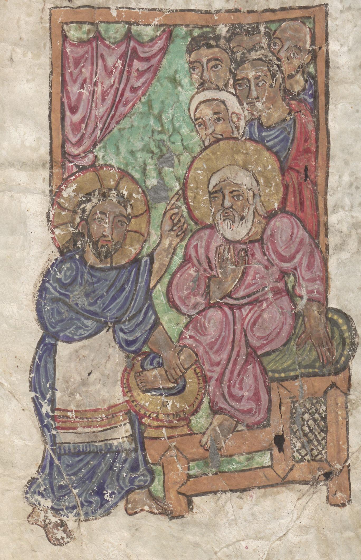 Christ washing the feet of Peter, Berlin Sachau 304, f. 89r [11th c.]